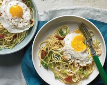 Espaguetis con Frisee y huevo frito